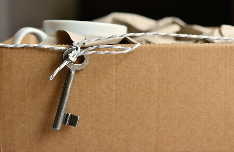 carton de déménagement, clé nouvel appartement