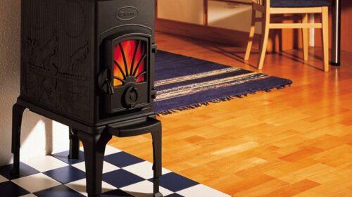Une poêle à bois dans une pièce